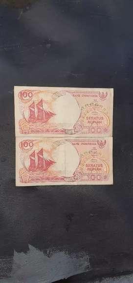 Uang kertas 100 rupiah perahu pinisi th 1992 2 lembar