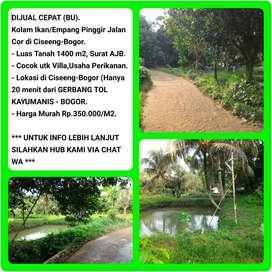Dijual Tanah Empang Lokasi Strategis dipinggir Jalan, Luas 1401m2