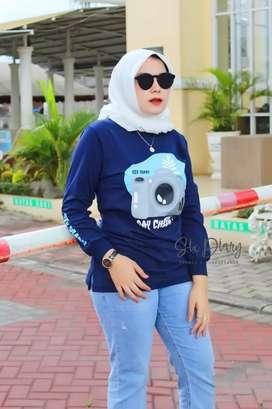 Kaos lengan panjang wanita hijab modern