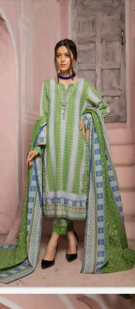 *New Collection* *RANGEBAHAR* 3PC Prted Lawn With Silk Dupta