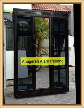 Lemari baju kaca aluminium kokoh + Free Ongkir