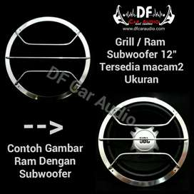 Tutup Subwoofer 12inc Grill stainless
