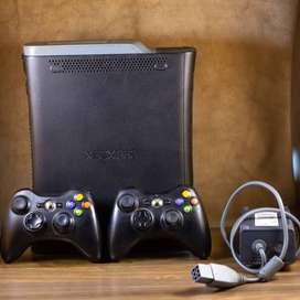 Xbox 360 (JTAG Installed) 250GB with 2 Wireless Controllers & Cables
