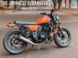 Motor custom scrambler japstyle kawasaki ninja 250 cc 2 silinder mewah