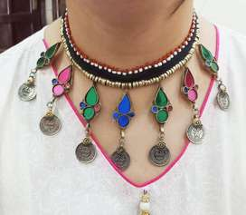 multicolor big stone necklace with coins handmade necklace foe women's