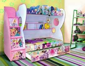 Girls Bunk Bed/ Pink Triple Bunk Bed/ 3D Bunk Bed