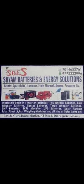 Inverters batteries two wheler four wheler batteries solar items  etc.