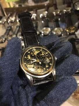 Rolex skeleton kinetic bazzle rose leather strap