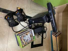 X box with kinetic, remote and games