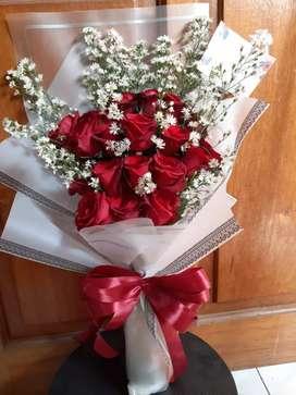 Buket Bunga Mawar Merah Fresh