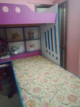 Double bed with study table for kids