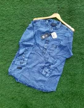 Kemeja lengan panjang jeans impor