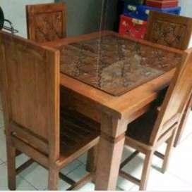 Meja makan Salina gendong material kayu jati ajf41