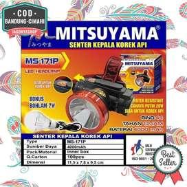 Senter Kepala LED Headlamp Korek Api + Bohlam 7 Watt Mitsuyama MS-171P