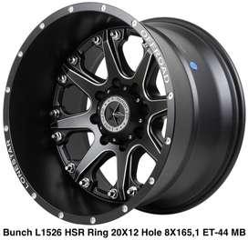 velg hsr wheel BUNCH L1526 HSR R20X12 H8X165,1 ET-44 MATT BLACK (CB1)