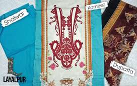 Ladies Unstitched 3pc Printed Shirt with Chiffon dupatta.
