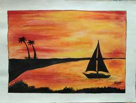 The boat in sea (painting)