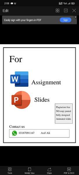 Word Assignment and PowerPoint slides