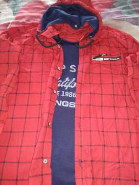 Designer Red shirt with attached t-shirt (L size)