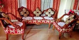 Teak Wood 3+1+1 Living Room Couch Sofa Set