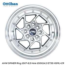 JUAL VELG AHW SPINER R15X7-8,5 H100X114,3 ET35-26 HSML CR JAZZ