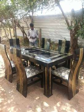 WOODEN DAINING TABLE 6cher sath .available