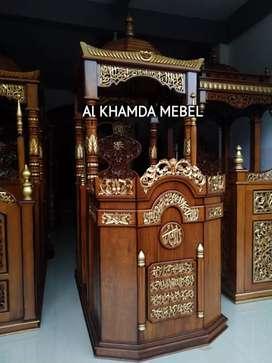 Ready Mimbar Masjid Material Kayu Jati #360