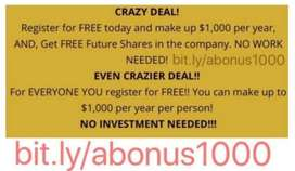 yearly $1000, free job work income