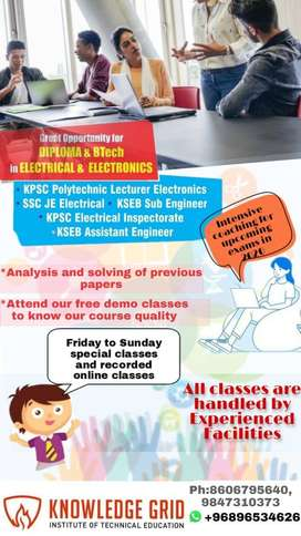 online Coaching class for KSEB AE/SE/EI/Poly Lecturer PSC Examinations
