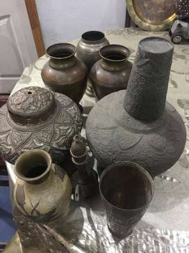A Unique collection of antique handmade copper articles imported