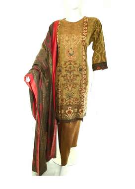 BROWN EMBROIDERED DRESS 3 PCS