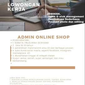 dibutuhkan admin toko online (TRUCUK - KLATEN))