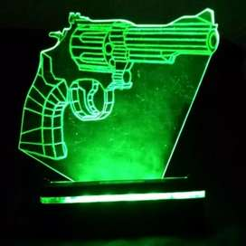 "Lampu Malam Efek ""Pistol"" - ""Revolver"" LED 3D - 3D Illusion Lamp"
