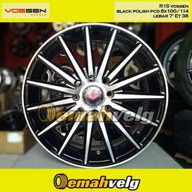 JUAL VELG KREDIT DP 10% R15 vossen black polish (MAZDA2) OEMAH VELG