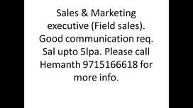 Sales & Markting - Good communication req - Sal upto 5 lpa