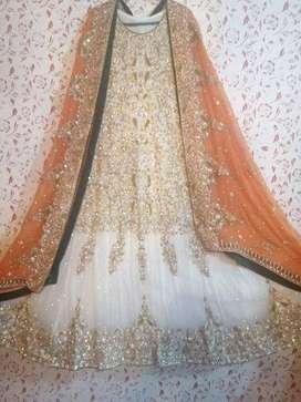 Off white walima maxi with orange dupatta