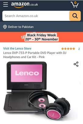Lenco Portable DVD Player with DJ Headphones and Car Kit headrest