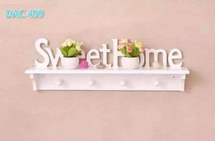 Rak dinding vintage SWEETHOME (dengan 4buah hook gantungan )