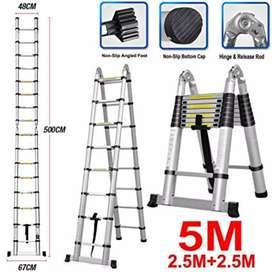 tangga lipat telkom/ teleskopik 5m kuat, kokoh, anti slip, anti goyang
