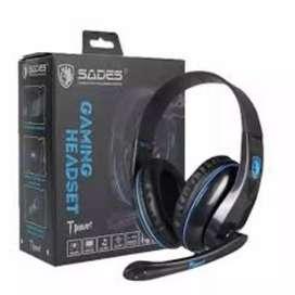 Headset Gaming Sades T Power SA-701 FREE SPLITTER AUDIO 1-2
