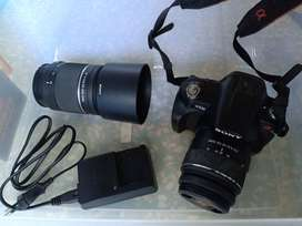 Kamera DSLR SONY A230 / Alpha 230 18-55mm + Lensa TELE 55-200 mm Sony