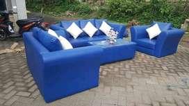 Erafurniture*sofa 321 set MAYA biru polos +bantal+MEJA