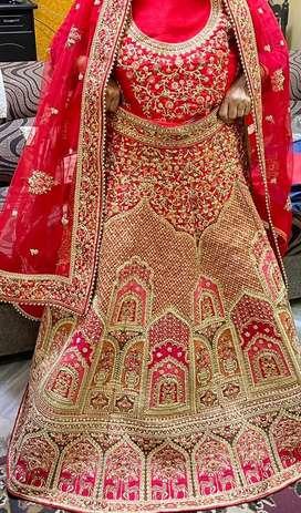 Red bridal rajwada lehenga