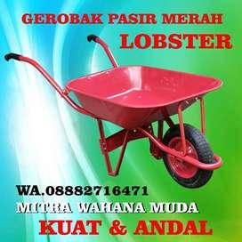 Gerobak Sorong Atau Gerobak Pasir Warna Merah Merek Lobster