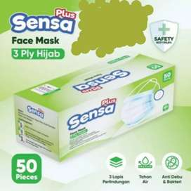 Masker HIJAB SENSA POLOS 1 box isi 50 psc