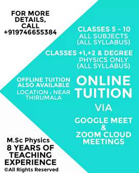 Online Tuition and home tuition