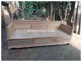bale bale jati, daybed kayu ukir minimalis jepara kf-9491