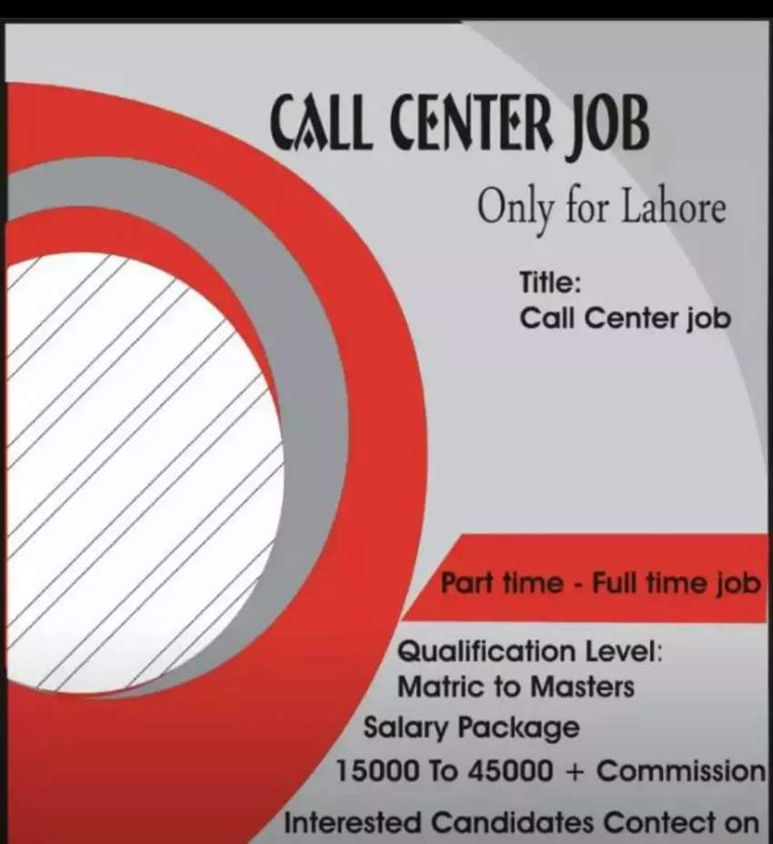 Job for males and females in Lahore 0