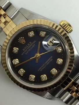 Rolex ladies 18KSS Biru Gradisi Hitam Diamonds