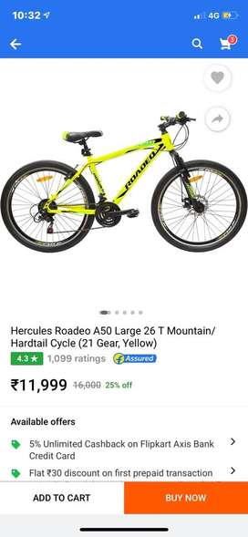Hercules Roadeo A50 Large 26 T Mountain/ Hardtail Cycle 21 Gear